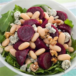Beet & White Bean Salad Recipe - Fiber-rich canned beets are just one of the many flavorful canned ingredients in your pantry and can be added to just about anything, like this delicious and nutritious salad.