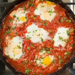 Eggs in Purgatory (Shakshuka) Recipe - Canned produce is just as nutritious as fresh and frozen, and in some cases even better! The canned tomatoes in this hearty dish contain more of the healthful antioxidant, lycopene, than fresh!