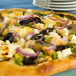 Greek Pizza with Artichokes and Feta Cheese Recipe - Canned artichokes take this Greek Pizza to the highest pillar and have one of the highest levels of healthy anti-aging, disease-fighting antioxidants.