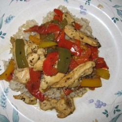 Chicken and Peppers with Balsamic Vinegar Recipe - Colorful peppers are stir-fried with chicken. Balsamic vinegar and basil bring plenty of flavor to this exciting dish.