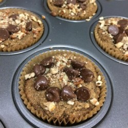 Chunky Monkey Muffins Recipe - Banana muffins topped with chocolate chips and walnuts are vegan, gluten-free, dairy-free, and paleo-friendly!
