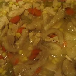 Chicken Corn Soup II Recipe - This is a delicious corn and chicken soup. It has lots of tasty vegetables and this includes a recipe for home made noodles as well.