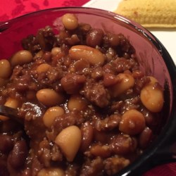 Ranchers Beans Recipe - This is a down-home country, stick-to-your-ribs kind of meal, passed down from an old man my dad once knew. He used a lot more onions that what I use, but that's a personal preference. I have also made it with onion powder or dried minced onion, and it's always good. It's great on a blustery fall or winter day with corn-bread.