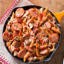 Smoked Sausage Pizza Pasta Skillet Recipe - All the tasty things that make pizza delicious are piled in this one-pan meal for the easiest weeknight dinner.