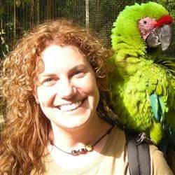 PJ with a friendly parrot in Roatan