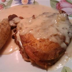 Sour Cream Pork Chops Recipe - These are the most tender and succulent pork chops you've ever had. My fiance absolutely loves them! Serve over noodles or rice.