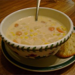 Depression Era Corn Chowder Recipe - This corn chowder is made with just corn, potatoes, chicken broth, evaporated milk, onion and butter.