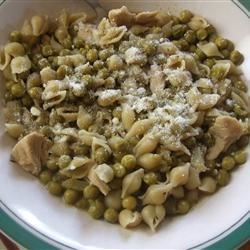 Peas and Macaroni Soup Recipe - Keep canned sweet peas, chicken broth, ditalini pasta, fresh onion, and garlic in the pantry and you'll be able to whip up this light and tasty soup anytime.