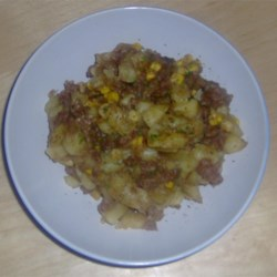 Hamburger Hash Recipe - Ground beef, onion and potatoes simmered in beefy broth.