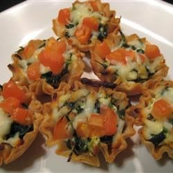 Spinach Phyllo Cups Recipe - This spinach and feta filling baked in phyllo cups makes a great appetizer!