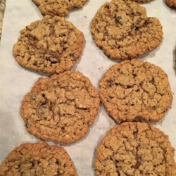Colossal Cookies Recipe - A large, chewy, chocolate chip, oatmeal, and peanut butter cookie.