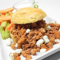 Bill's Buffalo Chicken Sloppy Joes  Recipe - Warm biscuits are brushed with blue cheese dressing and topped with spicy ground chicken for quick and easy Sloppy Joes with a Buffalo kick.