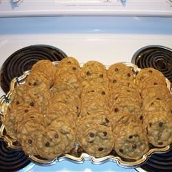 Three Hundred Chocolate Chip Cookies Recipe - Basic chocolate chip cookie recipe, which makes 1 dozen ice cream scoop size cookies, multiplied by 25  (thank you, cooking program for doing the math!)