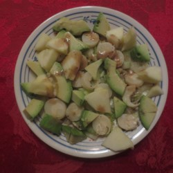 Apple, Avocado and Hearts of Palm Salad Recipe - A nice refreshing and original salad that goes well with roasted or grilled chicken or beef brisket.