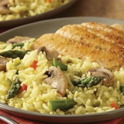 Yellow Rice with Asparagus and Mushrooms Recipe - Looking for a side dish with veggies? Pair fresh asparagus and mushrooms together with Zatarain's Yellow Rice for a great-tasting addition to any meal. Great for the kids, perfect for the whole family.