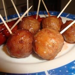 Cocktail Meatballs I Recipe - The sweet and spicy sauce here punches up traditional toothpick-ready meatballs.