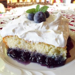 Blueberry Bottom Cake Recipe - Cut into this white cake for a surprise layer of gooey blueberries on the bottom. Served with whipped topping, it's sure to please a crowd.