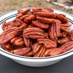 Hot and Spicy Pecans Recipe - Warm spicy pecans are a great snack just about any time!