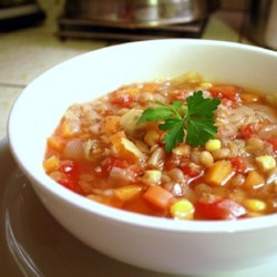 Winter Lentil Vegetable Soup Recipe - This soup has very little fat, is cheap and easy to make and delicious. Our family practically lives on it in the winter and I usually double the recipe. Sprinkle grated cheddar on top if you wish. If you can't hang around long enough for this to cook, put it in a slow cooker.
