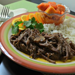 Rick's Caribbean Ropa Vieja Recipe - A touch of sweetness from the Caribbean gives a new flair to the standard Ropa Vieja (Cuban Meat Stew). Serve with rice.