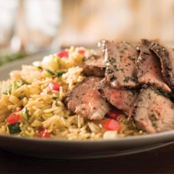 Grilled Steak & Summer Vegetable Rice Recipe - Fire up the grill, and pair an excellent steak with our Cheddar Broccoli Summer Vegetable rice.