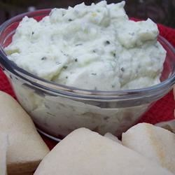 Jagic (Assyrian Cheese Spread) Recipe - This spicy cheese spread is flavored with fresh dill and cilantro.