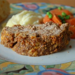 Rempel Family Meatloaf Recipe and Video - Meatloaf with cheese, onion soup mix, steak sauce and crushed buttery round crackers.