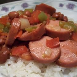 Easy Red Beans and Rice Recipe - This is an easy and delicious take on a Louisiana classic that you can prepare and cook in 40 minutes!  I use turkey kielbasa to cut down on the fat, but not the flavor.