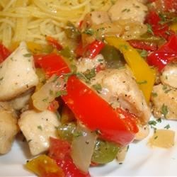 Pepper Chicken Piccata Recipe - A tart lemon glaze contrasts sweet onions and red bell peppers in this lively chicken saute.