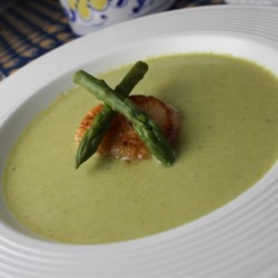 Cream of Fresh Asparagus Soup II Recipe - Put that fresh spring asparagus to good use in this creamy soup! Asparagus and onion are cooked in chicken broth, pureed, and combined with milk, sour cream, and a little fresh lemon juice.