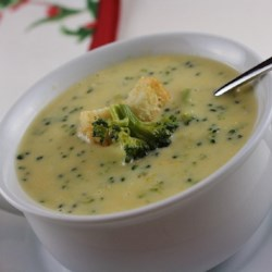 Broccoli Cheese Soup V Recipe - Broccoli cooked in chicken broth is combined with milk, processed American cheese food and onion sauteed in margarine to create a rich soup which is popular with children.