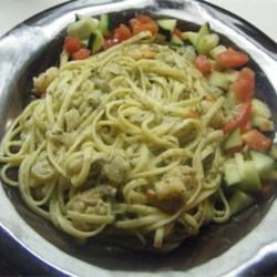 Pesto Cream Sauce Recipe - This combines a rich, velvety pesto sauce with shrimp, mushrooms and tomatoes. It's sinfully delicious!