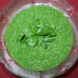 Green Chutney Recipe - This is a very tasty cilantro-based chutney that can be prepared in minutes. Just add fresh lemon juice, a small green chili, peanuts, salt, garlic, and fresh ginger to the cilantro and process until smooth.