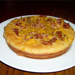 Maple Bacon Pancake Recipe - A sweet and savory oven pancake with cheese, bacon and maple syrup.