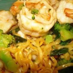 Szechwan shrimp with broccoli & ramen noodles