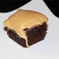 Brownies with Peanut Butter Fudge Frosting Recipe - A boxed brownie mix with a gooey peanut butter topping.