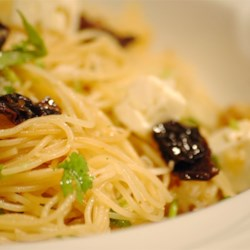 Angel Hair with Feta and Sun-Dried Tomatoes Recipe - My husband begs me to make this dish. It is a surprisingly great mixture of flavors. You'll love it! Feel free to tailor the ingredient amounts to your taste. This is how we like it, but it is quite flexible.