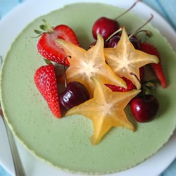 Green Tea Mousse Cheesecake Recipe - Matcha green tea powder and honey flavor this easy no-bake cheesecake.