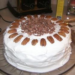 Chocolate Praline Layer Cake Recipe - Delicious chocolate cake to serve during the holidays. If desired, garnish with whole pecans and chocolate curls
