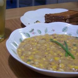 Corn and Cheddar Chowder Recipe - A yummy creamy chowder. Always a winner in our house!