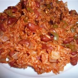 Cuban Beans and Rice Recipe - Kidney beans simmered with onion, bell pepper, garlic, tomato paste and rice.  You can substitute black beans, if you prefer.