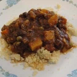 Jacy's Middle-Eastern Fava Bean Stew Recipe - A vegetable stew of squash, carrots, bell peppers, fava beans and peas, this recipe is seasoned with the aromatic flavors of Morocco and Lebanon. Serve with steamed basmati rice, couscous or bulgur. For a vegetarian dish, omit the anchovies.