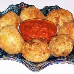 Arancini II Recipe - Authentic tasting Italian rice ball recipe. This may be served as an appetizer or side dish.  Include a bowl of marinara for dipping.
