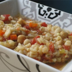 Beaker's Vegetable Barley Soup Recipe - Easy to make and delicious. Vegetable broth, barley, and lots of veggies make this soup hearty and filling.