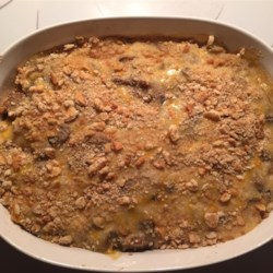 Chicken Asparagus Casserole Recipe - This asparagus and chicken casserole with a browned crumb topping is easy because you use canned asparagus and soup.