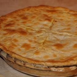 Luscious Chicken Pot Pie Recipe - This quick-fix pot pie can be whipped up in minutes and tastes like you spent hours in the kitchen. Cooked, diced chicken breasts are combined with condensed cream of chicken soup and mixed veggies. Pour into a prepared pie shell, cover with a round of pastry, and bake. Makes eight generous servings.