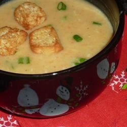 Beer Cheese Soup V Recipe - Beer, Cheddar, Monterey Jack and Parmesan are spiced with a hint of dry mustard in this quick, thick soup.