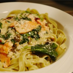 Salmon and Spinach Fettuccine Recipe - Smoked salmon, spinach, capers, and sun-dried tomatoes in a creamy Parmesan cheese sauce are served over fettuccine.