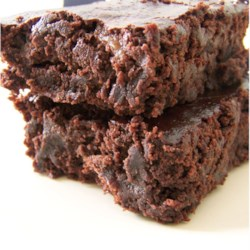Vegan Brownies Recipe - MMMMM...Vegan Brownies!!!!  These are very gooey, which is a good thing in my book. However, if you want your brownies a little more solid you'll need to cook them longer than the recommended time. Great for people with egg or dairy allergies too!