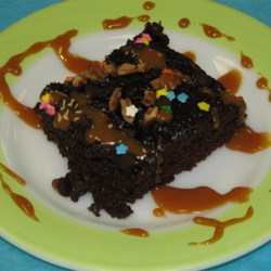 Chocolate Picnic Cake Recipe - Moist, chocolaty and sprinkled with walnuts, this is a great cake for your next get-together.